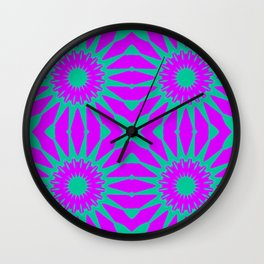 Purple & Teal Pinwheel Flowers Wall Clock