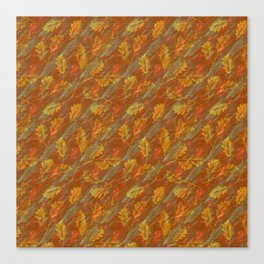 Autumn rain of rusty orange leaves on marble Canvas Print