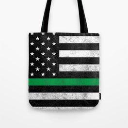 Thin Green Line Flag Tote Bag