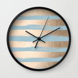 Painted Stripes Gold Tropical Ocean Sea Blue Wall Clock
