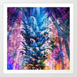 Stand Tall, Blue Pineapple Art Print