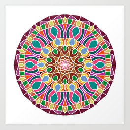 Multicolored fractal mandala Art Print