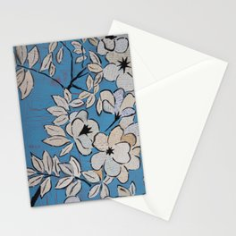 Language Blossoms in Blue Stationery Cards