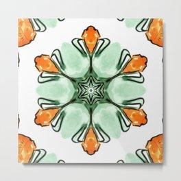 littles orange flowers mandala Metal Print