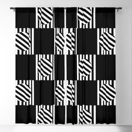 Chequered Turning Point - Black & White Blackout Curtain