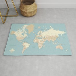 """Cream, brown and muted teal world map, """"Jett"""" Rug"""