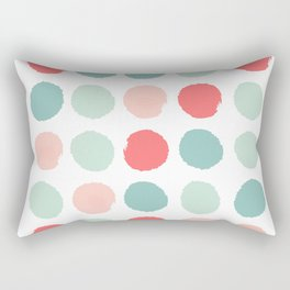 Dots painted coral minimal mint teal bright southern charleston decor colors Rectangular Pillow