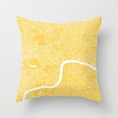 London map yellow Throw Pillow