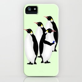 Penguin On A Mobile Device iPhone Case