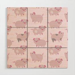 Cute Pink Piglets Pattern Wood Wall Art