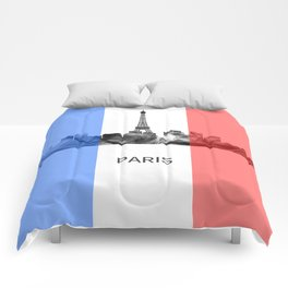 Paris, France skyline WB BW with French flag Comforters