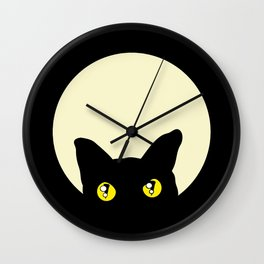 BLACK CAT FELINE HEAD Wall Clock