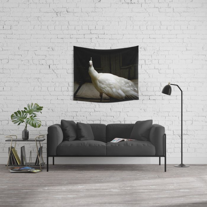 Elegant white peacock vintage shabby rustic chic french decor style woodland bird nature photograph Wall Tapestry