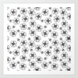 Flowers & Bees Pattern Art Print