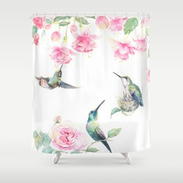 Paradise - watercolor hummingbirds and fuschia Shower Curtain