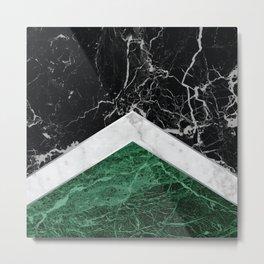 Stone Arrow Pattern - Black, White & Green Marble #412 Metal Print