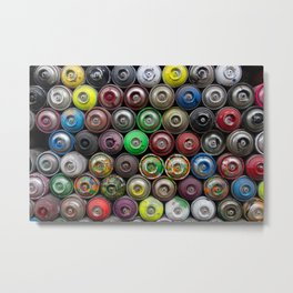Colorful Spray Cans Metal Print