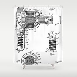 Hair Drier Patent - Salon Art - Black And White Shower Curtain