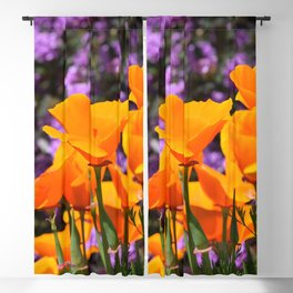 Poppies And Purple Lantana Blackout Curtain