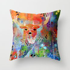 The Deer in the Thicket Throw Pillow