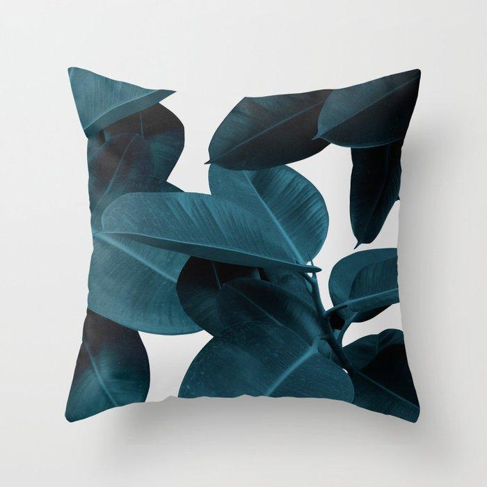 Indigo Plant Leaves Throw Pillow