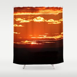 Red Gold Sunset in the Clouds Shower Curtain