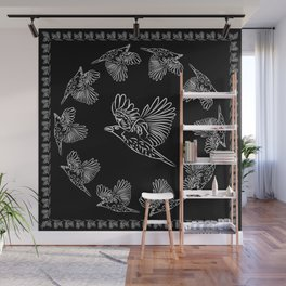 World crows. Crows in different framework, round, square. Wall Mural