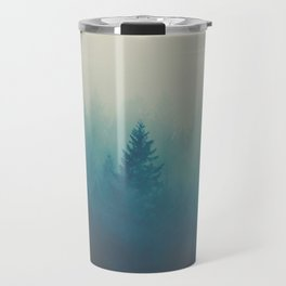 MIsty Turquoise Blue Pine Forest Foggy Parallax Tree Landscape Silhouette Travel Mug
