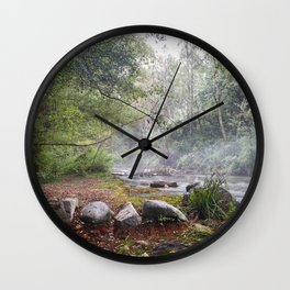 Dream foggy Morning . At The Mountains Wall Clock