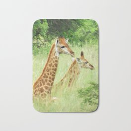 Baby giraffes in natures nursery Bath Mat