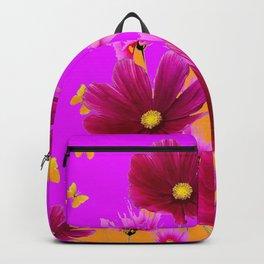 DECORATIVE YELLOW BUTTERFLIES & FUCHSIA PURPLE SPRING FLOWERS GARDEN ART Backpack