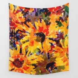 Golden Sunflower Garden Wall Tapestry