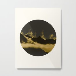 Mid Century Modern Round Circle Photo Graphic Design Mysterious Black Mountains With Rising Clouds Metal Print