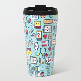Proud To Be a Nurse Pattern / Blue Travel Mug
