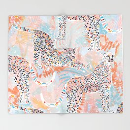 Colorful Wild Cats Throw Blanket