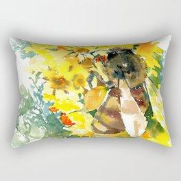 Honey Bee and Flower yellow honey bee design honey making Rectangular Pillow