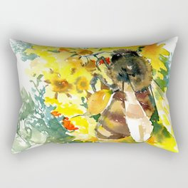 Honey Bee and Flower yellow honey bee design honey making Rectangular Pillow