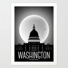 Washington D.C. City Retro Poster Art Print