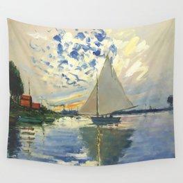Sailboat Le-Petit-Gennevilliers Claude Monet Fine Art Wall Tapestry