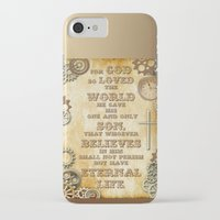 bible verse iPhone & iPod Cases featuring Steampunk Bible Verse For God So Loved the World by Whimsy and Nonsense