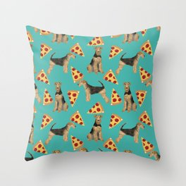 Airedale Terrier pizza pattern dog breed cute custom dog pattern gifts for dog lovers Throw Pillow