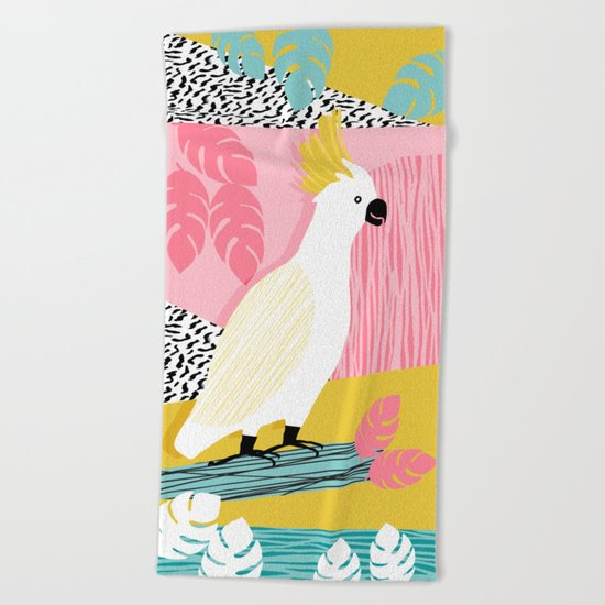FeelFree - memphis throwback retro bird tropical nature animal parrot cockatoo 1980s 80s pop art Beach Towel