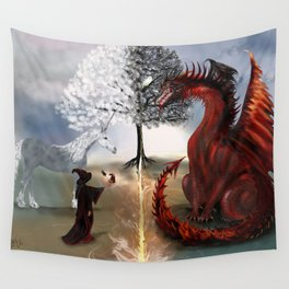 The Owl,Wizard,Unicorn and the Dragon Wall Tapestry