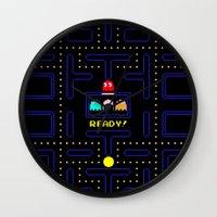 pac man Wall Clocks featuring Pac Man by Trash Apparel