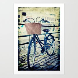 Locked bike in the city Art Print