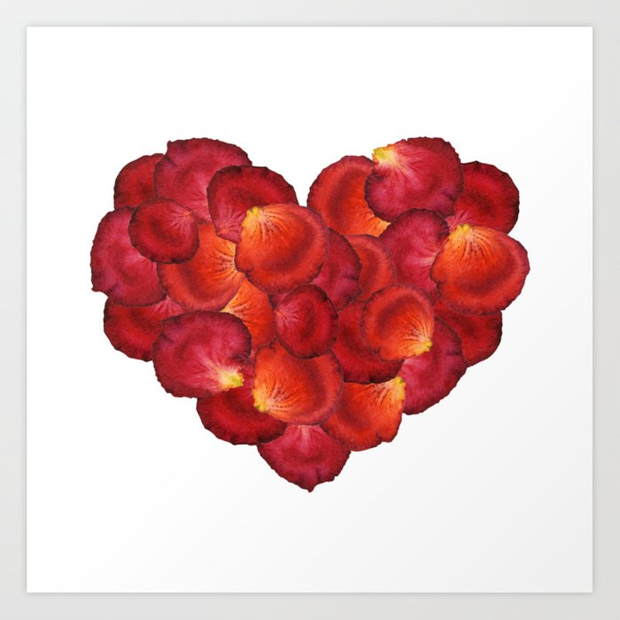 Red Petal Heart Art Print