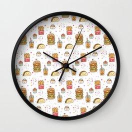 Fun Junk Food Pattern Wall Clock