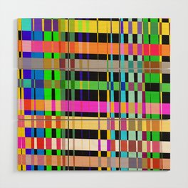 inclined coloured stripes Wood Wall Art