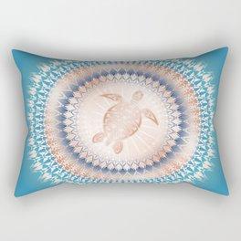 Rose Gold Turquoise Turtle Mandala Rectangular Pillow
