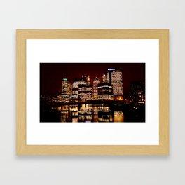 Canary Wharf at night Framed Art Print
